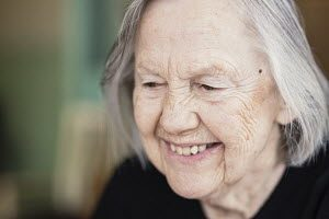 smiling woman in aged healthcare